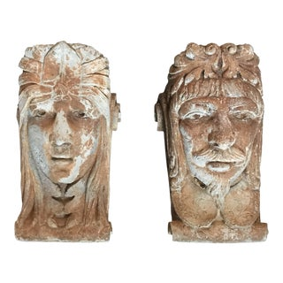 Early 20th Century Vintage Male and Female Plaster Corbels- A Pair For Sale