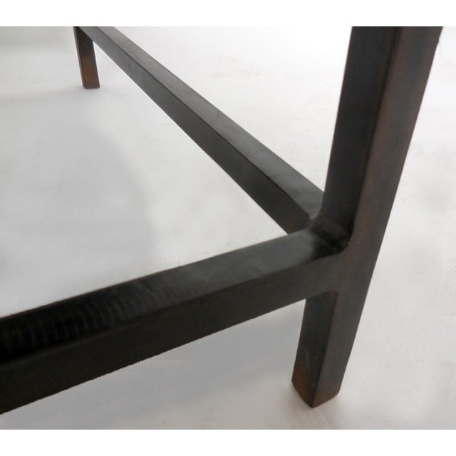 Black Customizable Reclaimed Wood Modern Clean Line Coffee Table or Bench with Iron Base For Sale - Image 8 of 9