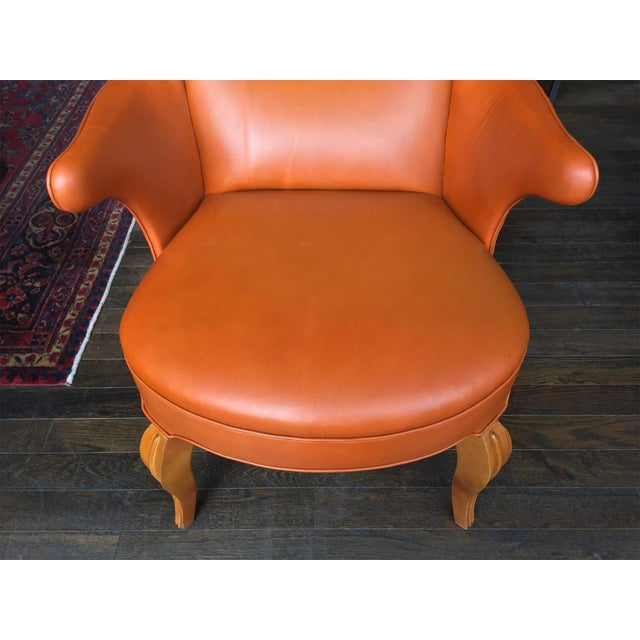 Orange 1940s Leather Wingback Armchair Attributed to Frits Henningsen For Sale - Image 8 of 12