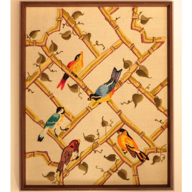 Songbirds on Bamboo Lattice - Framed Crewel Embroidery - Image 2 of 7