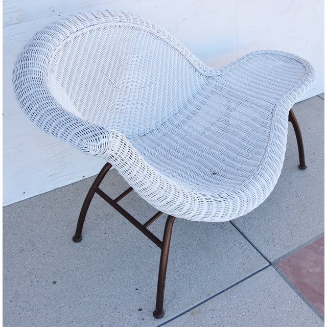 Abstract Vintage Modernistic Asymmetric Woven Wicker Chaise Lounge For Sale - Image 3 of 13
