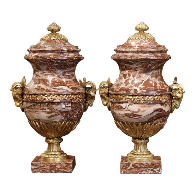 19th Century French Carved Variegated Marble and Bronze Cassolettes-A Pair For Sale