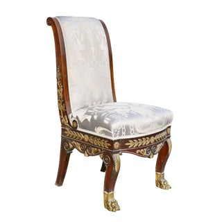 Empire Style Mahogany and Ormolu-Mounted Side Chair For Sale