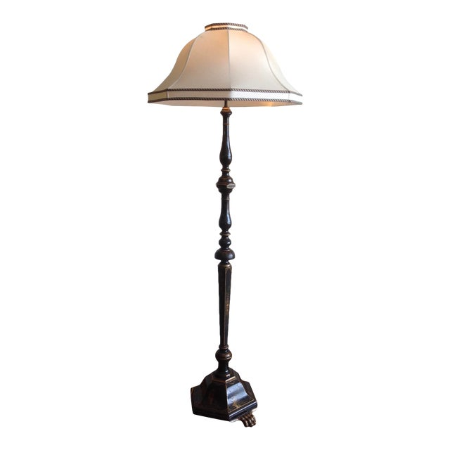 Chinoiserie Floor Lamp With Custom Shade For Sale