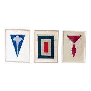 Vintage Sailing Flags, Framed - Set of 3 For Sale