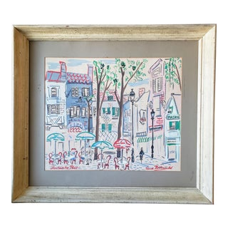 Mid Century. Claude Rodewald Cafe in Paris Watercolor For Sale