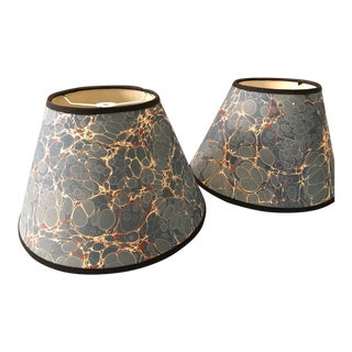 Marbled Paper Lamp Shades - a Pair For Sale