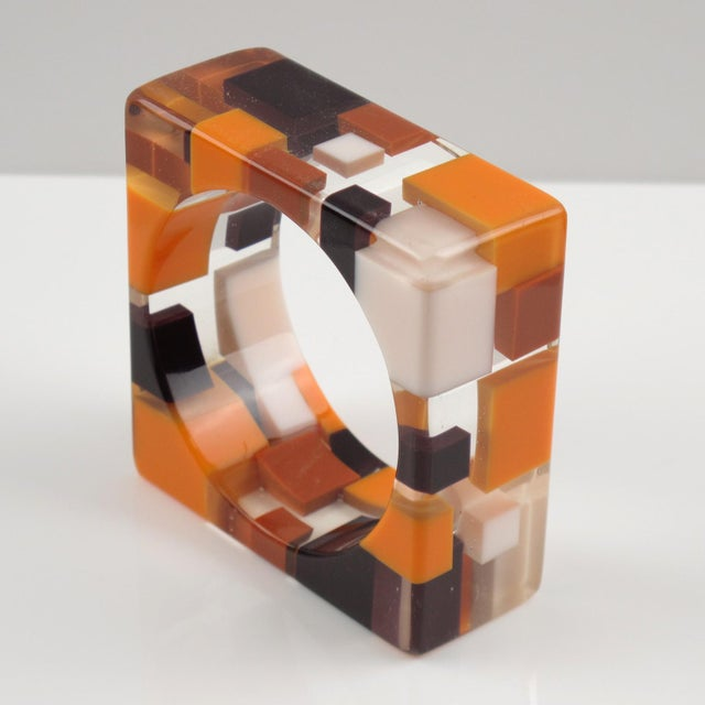 Contemporary Oversized Lucite Resin Bracelet Bangle Geometric Inclusions Orange Brown and White For Sale - Image 3 of 7