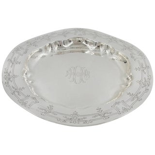 Sterling Silver Hammered Tray For Sale