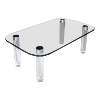 Mid-Century Modern Rectangular Glass Top Lucite Cilinder Legs Coffee Table For Sale