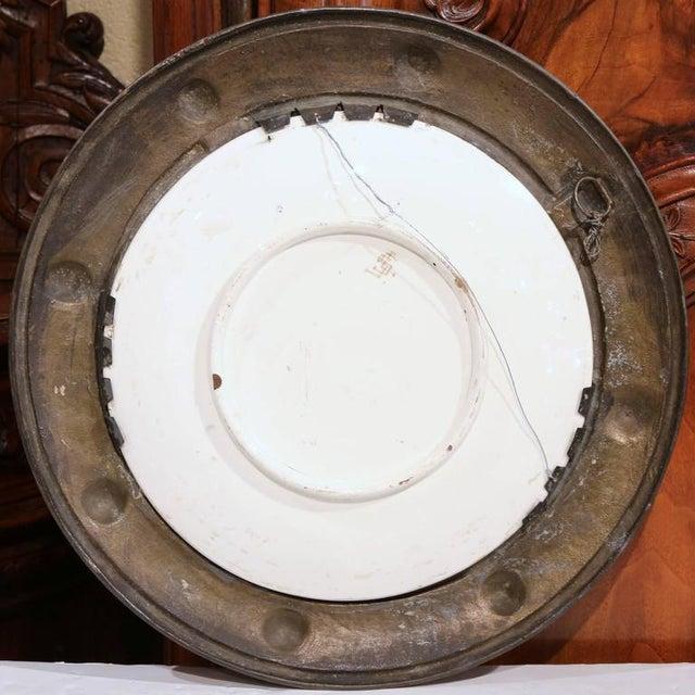 Brown German Pewter Framed Porcelain Platter For Sale - Image 8 of 9