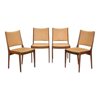 Danish Modern Rosewood and Leather Dining Chairs- Set of 4 For Sale