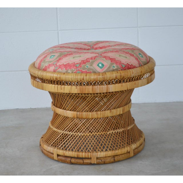 Boho Chic Mid-Century Woven Rattan Stool For Sale - Image 3 of 10