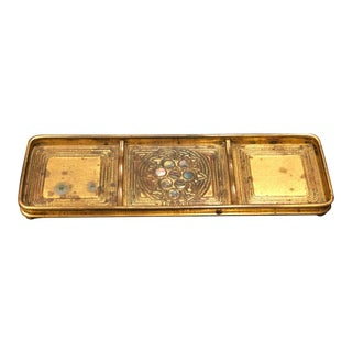 Antique Tiffany Studios Bronze Desk Pen Tray With Abalone Inlay For Sale