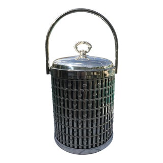 Mid-Century Faux Bamboo Silver Plated Ice Bucket