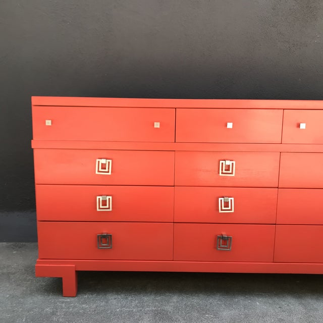 Mid Century Restored Lacquered 12~Drawer Dresser For Sale - Image 10 of 13
