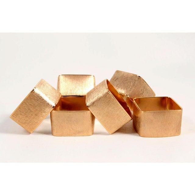 Brushed Gold Modernist Napkin Rings - Set of 6 - Image 2 of 5