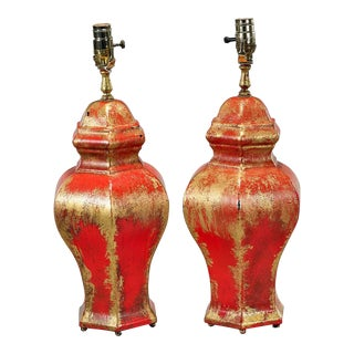 Pair of Red & Gold Pottery Ginger Jar Lamps For Sale