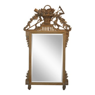 1950s Italian Camel Colored Wooden Wall Mirror