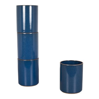 Set of Hasami Porcelain Tumblers-Gloss Blue For Sale