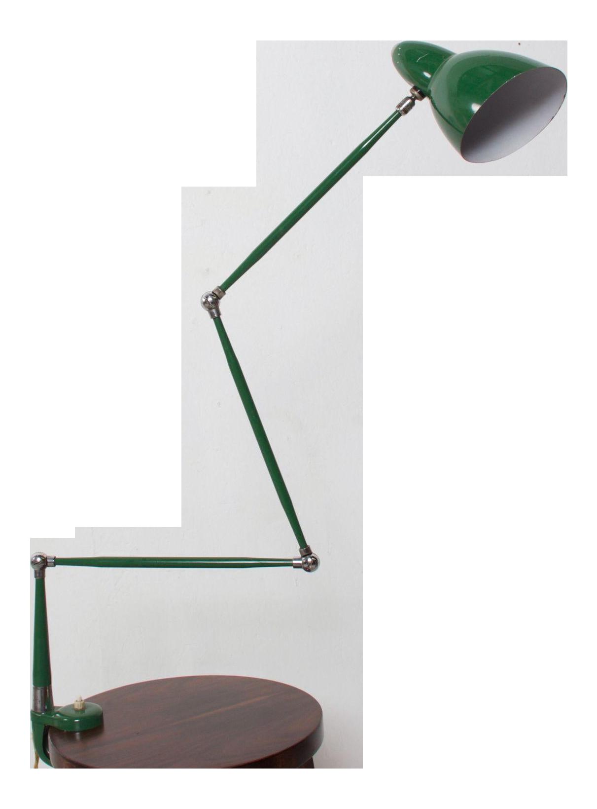 Image of: Italian Midcentury Green Adjustable Clamp Task Desk Lamp By Stilnovo 1950s Chairish