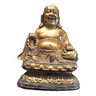 1900s Antique Bronze Happy Sitting Buddha Statue