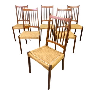 Vintage Danish Mid Century Modern Teak High Back Dining Chairs- Set of 6 For Sale