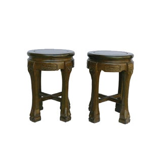 Sandalwood Oriental Round Stools -- A Pair For Sale