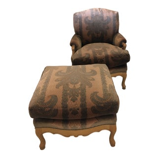 Late 20th Century Upholstered Bergere With Ottoman For Sale