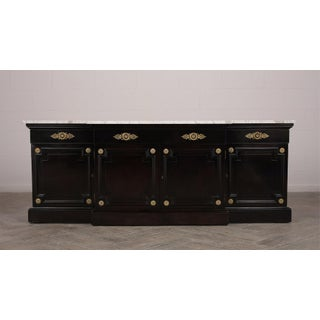 Traditional Regency-Style Black Lacquer Marble Top Buffet Preview