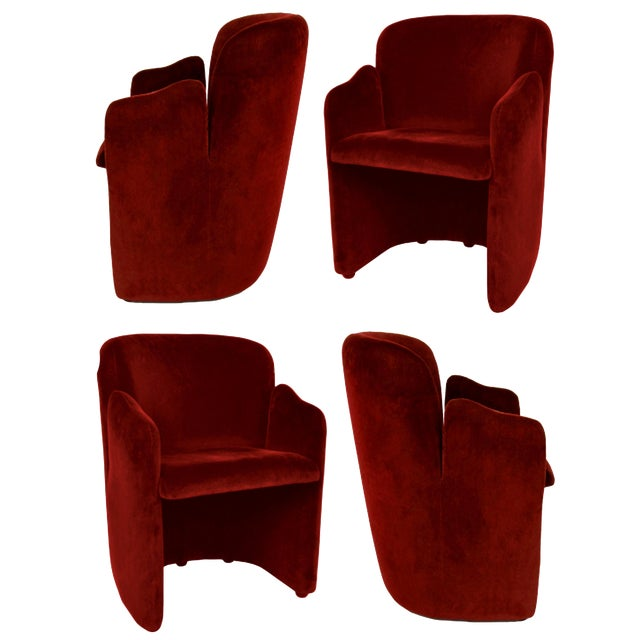 Set of Four Barrel-Form Chairs Attributed to Vladimir Kagan for Weiman For Sale