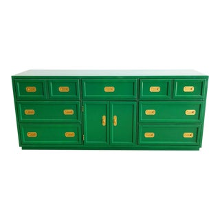 Vintage Kelly Green Painted Solid Wood Campaign Dresser