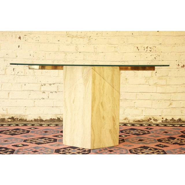 Ello Italian Travertine and Glass Console Table - Image 2 of 8