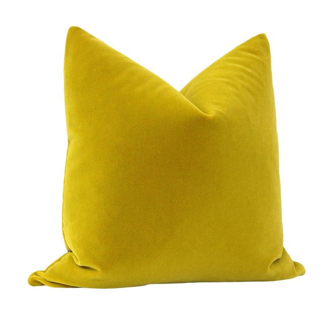 "Contemporary 22"" Chartreuse Mohair Pillows - a Pair For Sale - Image 3 of 5"