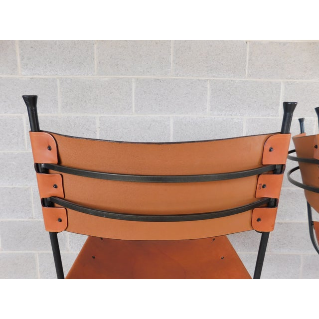 Contemporary Charleston Forge Wrought Iron Slight Leather Seat Bar Stools - a Pair For Sale - Image 3 of 13