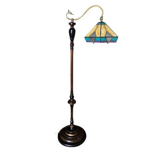 Late Victorian Style Floor Lamp Tiffany Inspired Stain Glass Shade For Sale