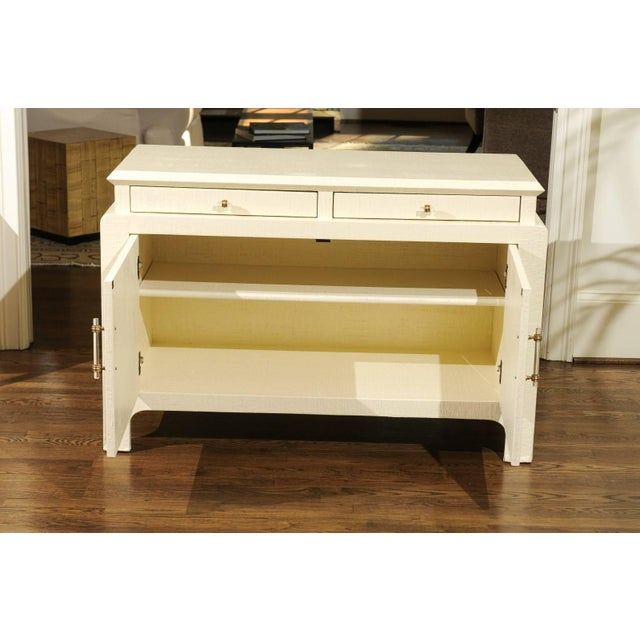 Harrison-Van Horn Gorgeous Restored Raffia Cabinet by Harrison-Van Horn in Cream Lacquer For Sale - Image 4 of 11