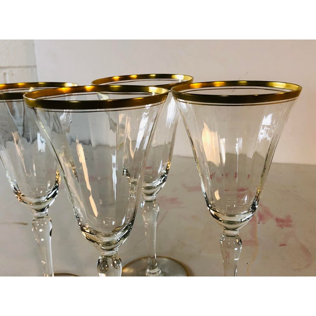 Gold Hollywood Regency Double Gold Rim Champagne Stems, Set of 4 For Sale - Image 8 of 10