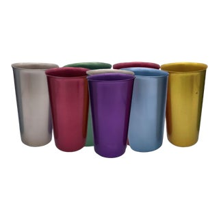 Vintage Mid-Century Modern Italy Anodized Spun Aluminum Multicolor Tumbler Cups- Set of 8 For Sale