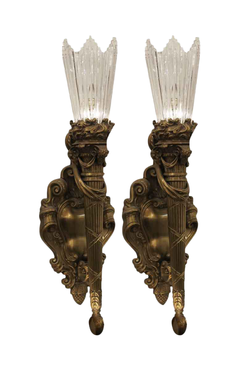 E f caldwell cast bronze baccarat crystal sconces a pair