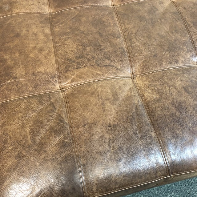 Tufted Leather Ottoman, by Ballard Designs For Sale - Image 9 of 10