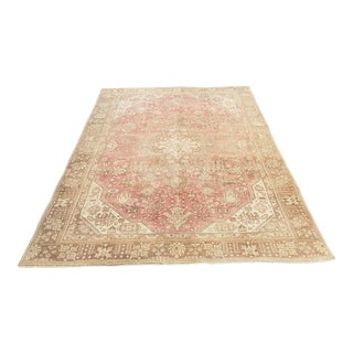 1960's Turkish Oushak Handmade Rug-6′ × 9′3″ For Sale
