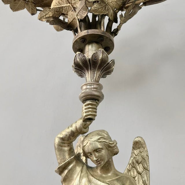 Pair 19th Century Bronze Candlesticks With Angels ~ Napoleon III Period For Sale - Image 9 of 13