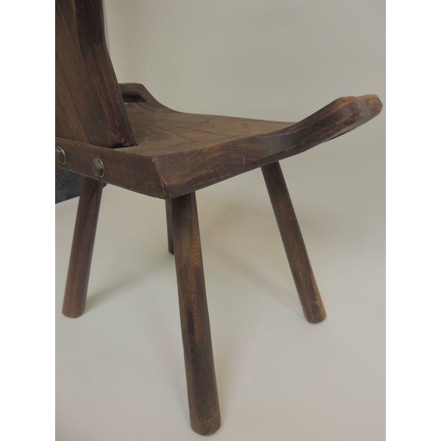 Vintage Primitive Rustic Belgian Artisanal Birthing Chair With Four Legs For Sale In Miami - Image 6 of 7