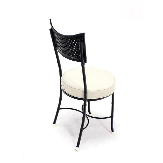 Black Cast Aluminum Faux Bamboo and Cane Round Seat Chairs - Set of 4 For Sale - Image 8 of 11