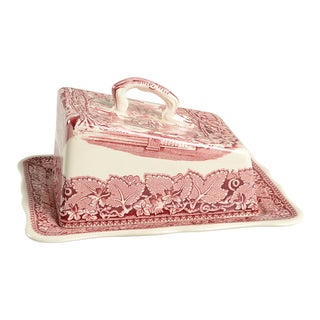 Mason's Vista Pink Large Cheese Dish With Lid For Sale