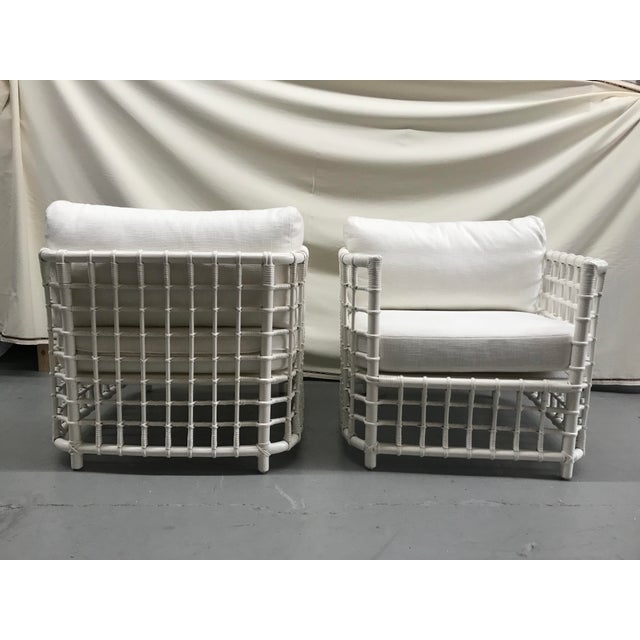 Mid-Century Modern 1970s Woven Bamboo Corbusier Inspired Lounge Chairs - a Pair For Sale - Image 3 of 7