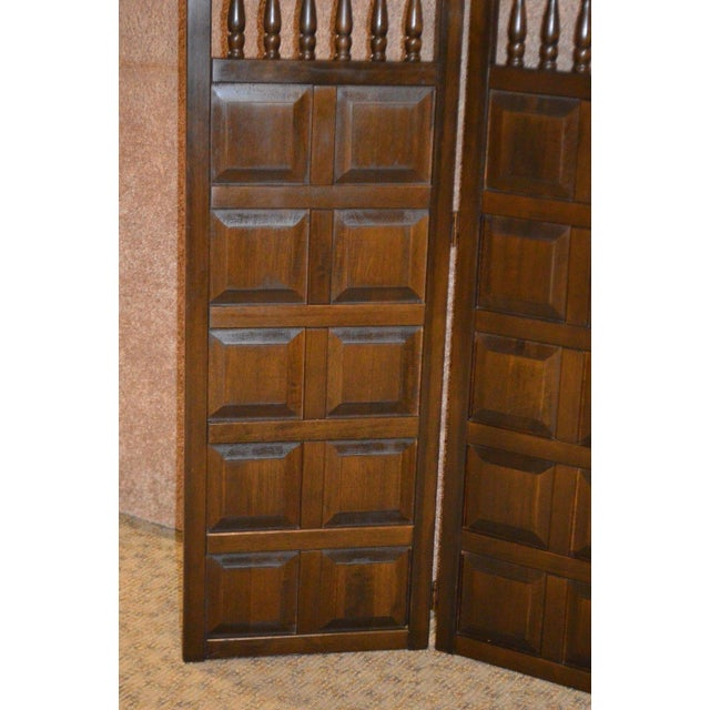 Brown Vintage Jacobean Style Wood Room Divider For Sale - Image 8 of 13