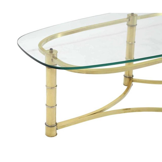 Brass and Glass Oval Coffee Table For Sale - Image 4 of 7