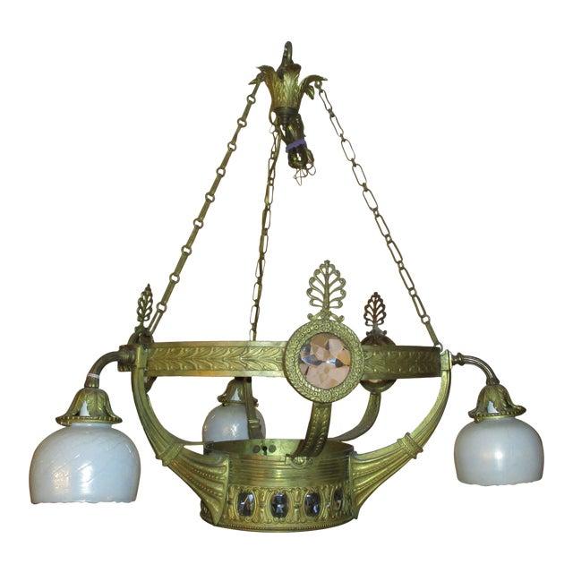 3-Globe Vienna Secession Gilt Bronze Chandelier For Sale